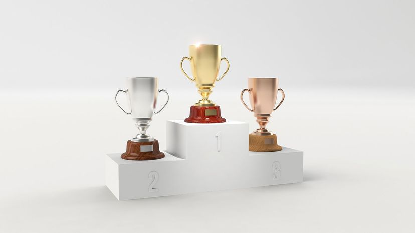 gold, silver and bronze trophies