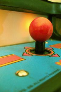 A classic four-direction arcade joystick