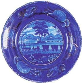 """In 1828 -- before America had its first railroad -- English pottery maker Enoch Wood & Sons was offering a version of its famous """"flow blue"""" dinnerware with a railroad theme."""
