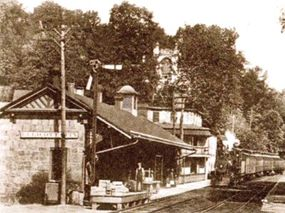 Shown here late in the nineteenth century, Ellicott City was the B&O's first terminus. The stone building on the left dates from 1831, making it America's first railroad station.