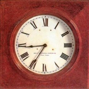 """Before the Civil War, there was no such thing as """"standard time."""" Although railroads issued timetables and ran trains by the clock, there was a great deal of uncertainty in the system. This is an example of an early station or office clock."""