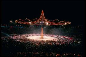 A general view of the closing ceremony during the Olympic Games in Albertville, France in 1992, one of the many Olympics that nearly bankrupted their hosts. See more pictures of the Olympics.