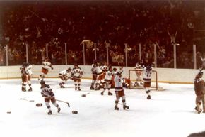 Team USA celebrates their 4-3 victory over the Soviet Union in the semi-final men's ice hockey event in 1980. The game was dubbed the 'Miracle on Ice' because the Soviets had won every Olympic event since 1954. The USA went on to win the gold.
