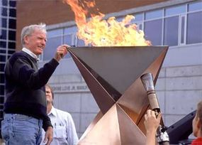 Sam Shelton, who created both the 1996 Atlanta torch and the 2002 Salt Lake City torch, examines the Olympic Cauldron that holds the flame at various points during the relay.