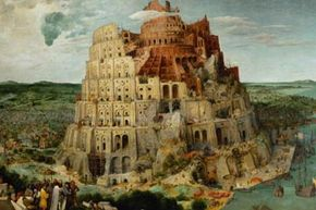 """A 16th-century painting of the Tower of Babel by Pieter Bruegel the Elder. This is where the word """"babble"""" comes from."""