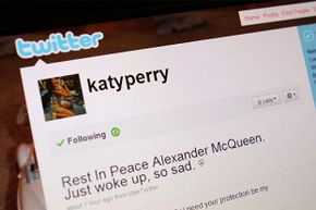 How do you know that the real Katy Perry wrote this tweet? Twitter added a blue badge with a checkmark next to her name to show they verified the account (not pictured).