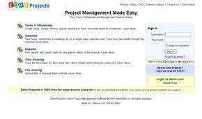 Zoho offers a suite of Web services, including online project management products.