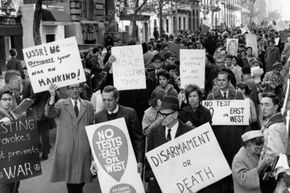 Demonstrators protested against the nuclear arms race in front of the USSR embassy in New York City, circa 1960.