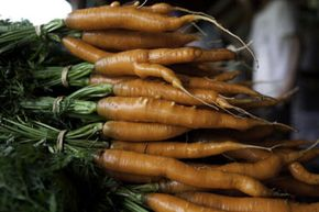 A pile of washed organic carrots waits to be refrigerated at the Clear Brook Organic Farm in Vermont.