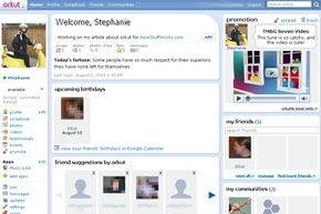Access all of orkut's features from your homepage.