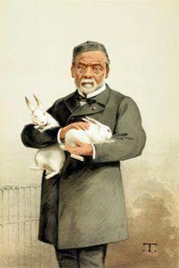 Louis Pasteur in an illustrated portrait.