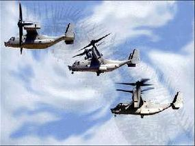 V-22 osprey transitioning from helicopter to airplane mode