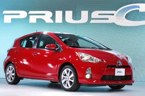 The 2012 Toyota Prius C hybrid is introduced during a press preview at the North American International Auto Show at the COBO Center on Jan. 10, 2012 in Detroit, Mich.