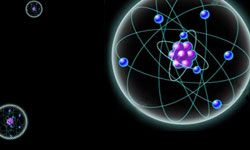 Electrons orbit the center of the atom -- like planets orbiting the sun.