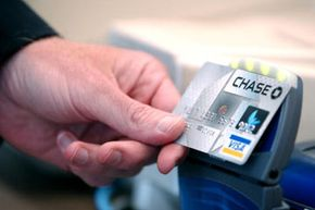 """RFID cards allow users to """"tap and go"""" when they pay because the information is transmitted wirelessly."""