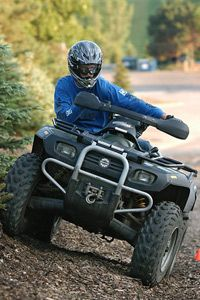 ATV racer Keith Grundhauser's winch blends in well with the frame of his vehicle.