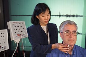 Bodily Feats Image Gallery NASA scientist Chuck Jorgensen tests a subvocal speech-recognition device. See more bodily feat pictures.