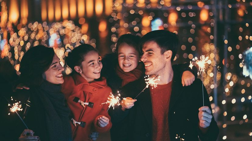 family with sparklers