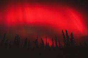 Red aurora borealis over Wrangell/St.Elias National Park in Alaska