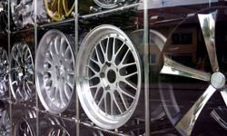 Aluminum is used to make parts such as wheels and hubcaps.