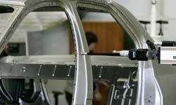 Steel is used to build the car's underlying frame of support.