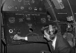 An early autopilot system in an Avro 19 plane, circa 1947. See more images of airplanes.