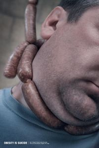 """One of three images for Brandon Knowlden's """"Obesity is Suicide"""" campaign."""