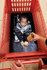 Looking down into this cart could make anyone cough up some money to help feed hungry children.