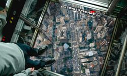 A promotional image of the Swiss Skydive's elevator free fall campaign.