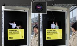 The AI Germany domestic abuse campaign includes this bus shelter ad that features a camera that changes the poster's image.