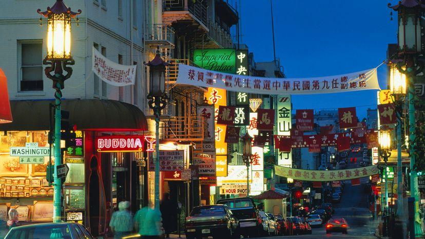 Night falls in Chinatown, San Francisco