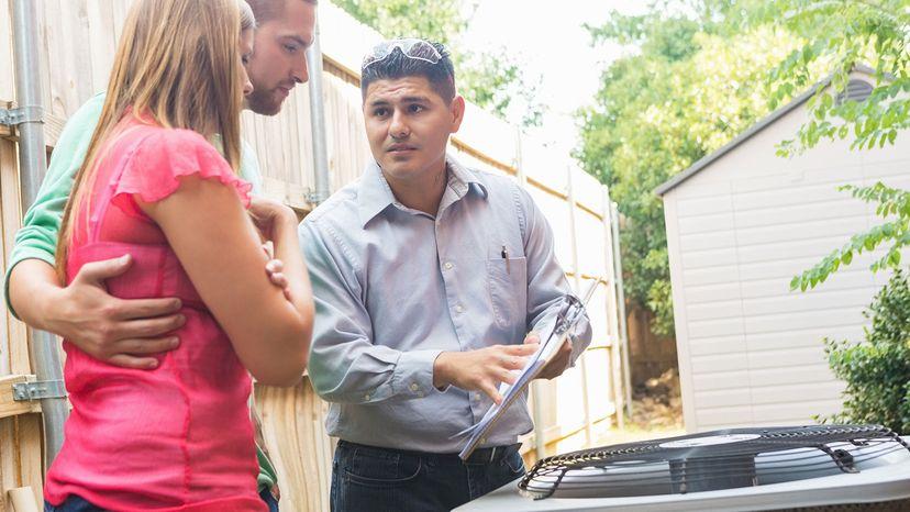 AC repairman, home owners