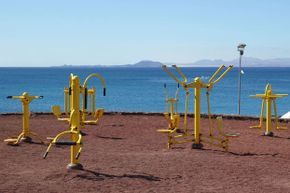 Outdoor workout equipment has to be designed to withstand the elements, and while it doesn't always look like indoor equipment, the functions are the same.