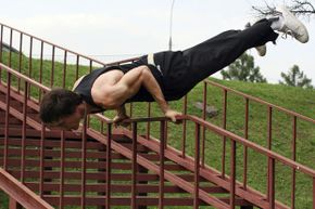 While the free-running nature of parkour is intended to take advantage of available obstacles in an urban landscape, practicing on the playground is a great way to hone your skills.