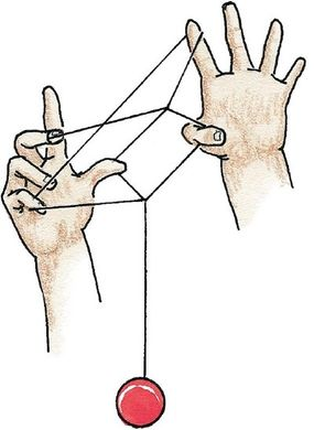 Insert your yo-yo hand thumb in the string's triangle.