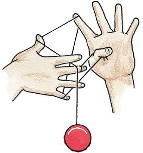 Reach down with your yo-yo finger and pull the string up.