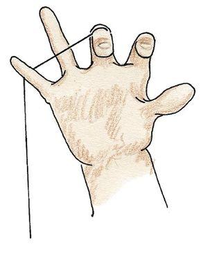 Slip your yo-yo hand's pinky finger under the string.
