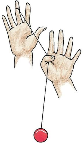 Grab the yo-yo string with the thumb of your free hand.