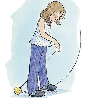 As the yo-yo comes in front, swing it between your legs.