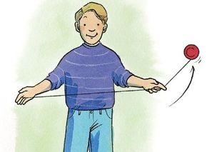 Let the yo-yo arc around your index finger.
