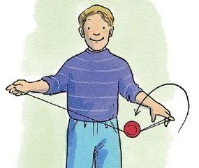 Catch the yo-yo on the string.