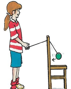 Swing your spinning yo-yo over the back of the chair.