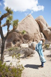 A woman stretches in the early morning of Joshua Tree National Park.