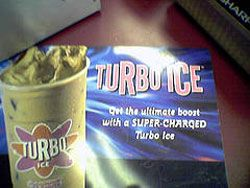 Advertisement for Turbo-Ice from Dunkin' Donuts.