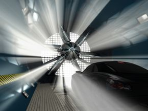 Cars (and airplanes) have their aerodynamics tested by wind tunnels.