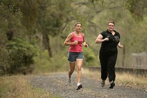 Nurse Fiona Tewierik (right) has PCOS and participated in a study on the effect of endurance exercise on her symptoms. Here, she works out with a personal trainer.