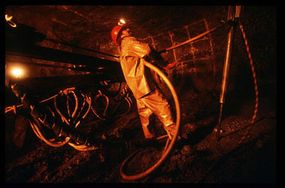 A miner works a diamond mine in Northwest Territories, Canada.