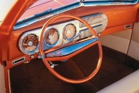 The interior includes a modified 1947 Studebaker dash and a '63 Buick Riviera steering wheel.