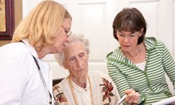An elderly woman consults with her doctor and daughter about long-term care options.