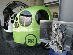 MDI's AirPod One and its compressed air engine, at MDI's headquarters near Nice, France.